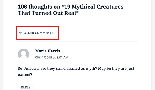 Paginated comments