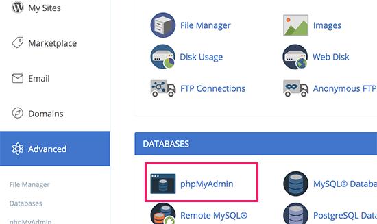 phpMyAdmin trong cPanel