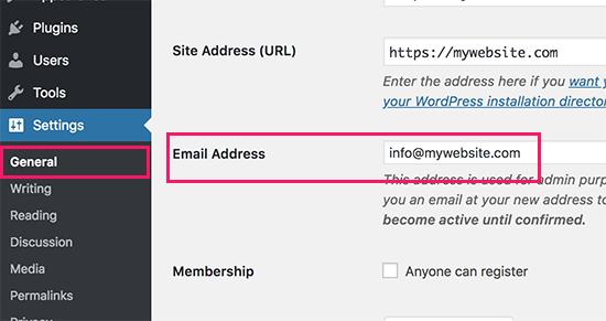 Thay đổi email quản trị trang WordPress